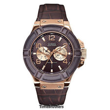 NEW GUESS WATCH for Men * Brown / Rose Gold Tone * Croco Leather Strap * U0040G3