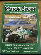 Jan-1987 Motor Sport Magazine: Weekly Motoring Newspaper - Outstanding Content W