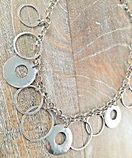 Silpada .925 Sterling Silver HAMMERED Ring Circle Link Necklace N1325 RETIRED