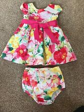Baby Girl Fuchsia Floral Ralph Lauren Dress And Knicker Set Age 9 Months