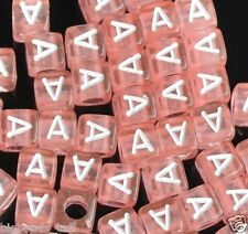 50pcs pink 6mm single alphabet/letter cube beads  A