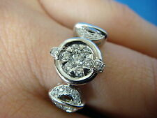 ! ELEGANT 18K GOLD LADIES DIAMOND UNUSUAL DESIGN RING, 4.9 GRAMS, SIZE 6.5.
