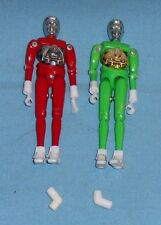 vintage Mego Micronauts RED & GREEN OPAQUE TIME TRAVELER lot x2 complete