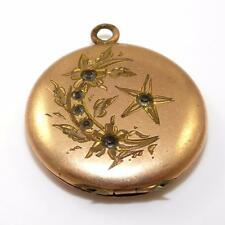Victorian Antique Gold Filled Star Flower Past Stones Picture Locket Pendant QX