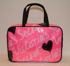 Victoria`s Secret Hanging Travel Case Cosmetic Makeup Bag Hot Pink with Hearts
