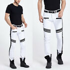 Mens White Jeans Slim Fit Straight Skinny Fit Denim Trousers Casual Pants