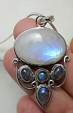Labradorite Moonstone High Priestess necklace .925 sterling silver pagan wiccan