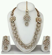 South Indian Traditional Bridal Pearl,Diamond & kundan Necklace Jewelry Set