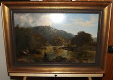"John Dearle ""ON THE LUGWY"" 19th c Original English Oil Painting, Antique Vintage"