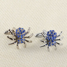 Royal Blue Crystal Spider Stainless Steel Mens Wedding Gift Cuff Links Cufflinks