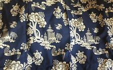 """SCALAMANDRE CREAM ON NAVY """"MEI LING"""" CHINOISERIE LAMPAS 56"""" x 39"""" fabric"""