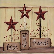 FAITH FAMILY FRIENDS BARN STAR  COASTERS SET OF 4 FABRIC TOP / RUBBER BACKED
