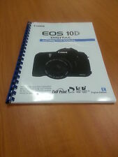CANON  EOS 10D FULL USER GUIDE INSTRUCTION MANUAL A5  PRINTED 184 PAGES