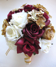 17 pc Wedding Bouquet Bridal Silk flowers BURGUNDY CHAMPAGNE GOLD CREAM Bride