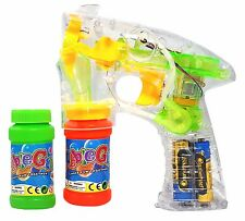 Haktoys Transparent Bubble Shooter Gun w/ LED Lights, Extra Bottle & Batteries