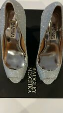 New Badgley Mischka Ponderosa Glitter Peep Toe High Heel Pumps Size 6 Silver