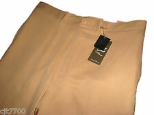 NWT Mens Silk Cotton Tan Khaki Pants Pleated Business Casual Dress New 42 x 34