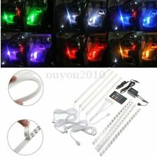 7 Color RGB Wireless Music Control LED Strip Light Car Interior Under Dash Kit