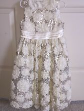 American Princess ivory cream gold girls special occasion sequin dress 8