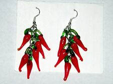 CHILI PEPPER EARRINGS GLASS CHILI COOK OFF SIESTA PARTYS MEXICAN EARRINGS NEW!!