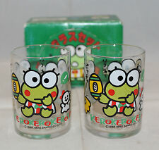 Vintage Sanrio Set of 2 Kero Kero Keroppi Small Drinking Glass Sports 1990 Japan
