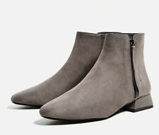 Zara Flat Grey Ankle Boots With Zip New 5 38 BNWT AW 2016