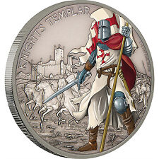 KNIGHTS TEMPLAR Warriors of History 1oz antiqued silver coin Niue 2017