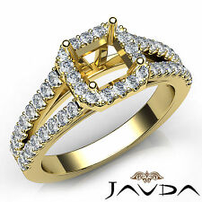 Halo Prong Set Asscher Diamond Semi Mount Engagement Ring 18k Yellow Gold 0.75Ct
