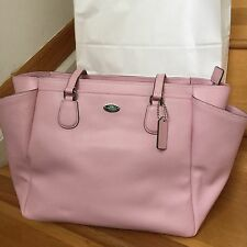 NWT COACH SIGNATURE PETAL PINK LEATHER BABY DIAPER TOTE LAPTOP MULTI BAG 35702