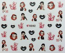 Nail Art 3D Decal Stickers Betty Boop Hearts Poodle Dog Valentine's Day K042