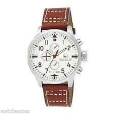 Tommy Hilfiger Men's Sport Multi Eye Stainless Steel Brown Leather Watch 1790684