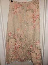 RALPH LAUREN Green Pink FLoral 100% Linen Long Button Front Skirt Size 10