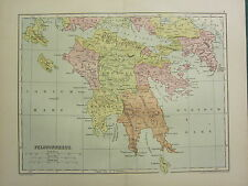 1904 MAP OF ANCIENT HISTORY ~ PELOPONNESUS ~ ARCADIA ARGOLIS MESSENIA ELIS