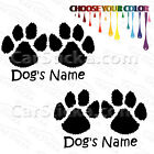 """2 of 5"""" Custom Name Dog Cat Paws /B pets car window bumper wall stickers decals"""
