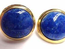 Fabulous! Natural Blue Lapis 18K Yellow Gold over Sterling Silver Stud Earrings