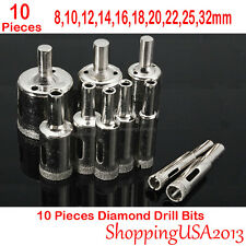 10 pcs 8-32mm Diamond tool drill bit set hole saw cutter glass ceramic marb