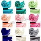 Pashmina Cashmere Silk Cotton Blend Solid Wrap Unisex Long Range Scarf Shawl