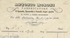 MILANO_MORONI_SPAZZOLE_PENNELLI_ANTICA CARTA INTESTATA_PUBBLICITARIA_1869_RARITA
