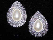 WEDDING BRIDAL WHITE PEARL W. CLEAR RHINESTONE CRYSTAL SILVER CLIP EARRINGS