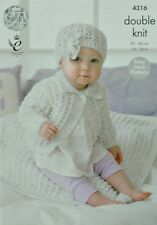 KNITTING PATTERN Baby's Easy Knit Collared Cardigan, Blanket & Hat DK KC 4316