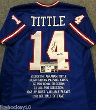 YA TITTLE AUTOGRAPHED SIGNED INSCRIBED N.Y. GIANTS STAT JERSEY GTSM  COA
