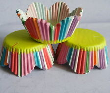 50 pcs CK107 - Rainbow stripes green bottom cupcake liners muffin cases