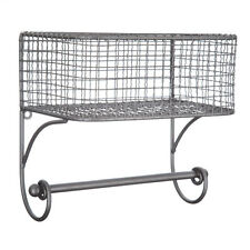Black Iron Wire Wall Basket with Rod  RUSTIC VINTAGE HOME DECOR