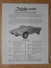 FRISKY SPRINT orig 1958 UK Mkt Sales Brochure Leaflet - Meadows Sports Car
