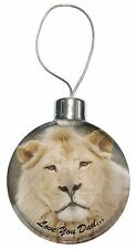 White Lion 'Love You Dad' Christmas Tree Bauble Decoration Gift, DAD-149CB