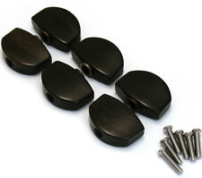 NEW 6 Ebony Buttons & Screws for Schaller Tuners Tuning Pegs Keys Button Set