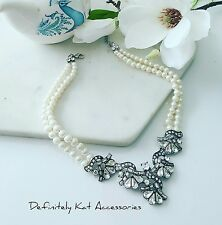 Stunning crystal flower & pearl double row vintage collar statement necklace