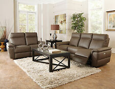 ECHO - Modern Brown Real Leather Power Recliner Sofa Set Living Room Furniture