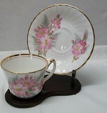 Royal Ardalt Bone China Teacup Saucer Pink Flowers Scalloped Gold Rim Vintage
