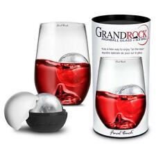 GRAND ROCK Hi Highball Glass & Ice Ball Mould Cocktail Long Tall Drinking Set